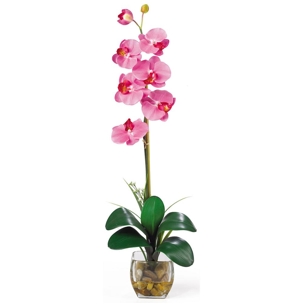 27 in. Single Phalaenopsis Liquid Illusion Silk Flower Arrangement in Dark