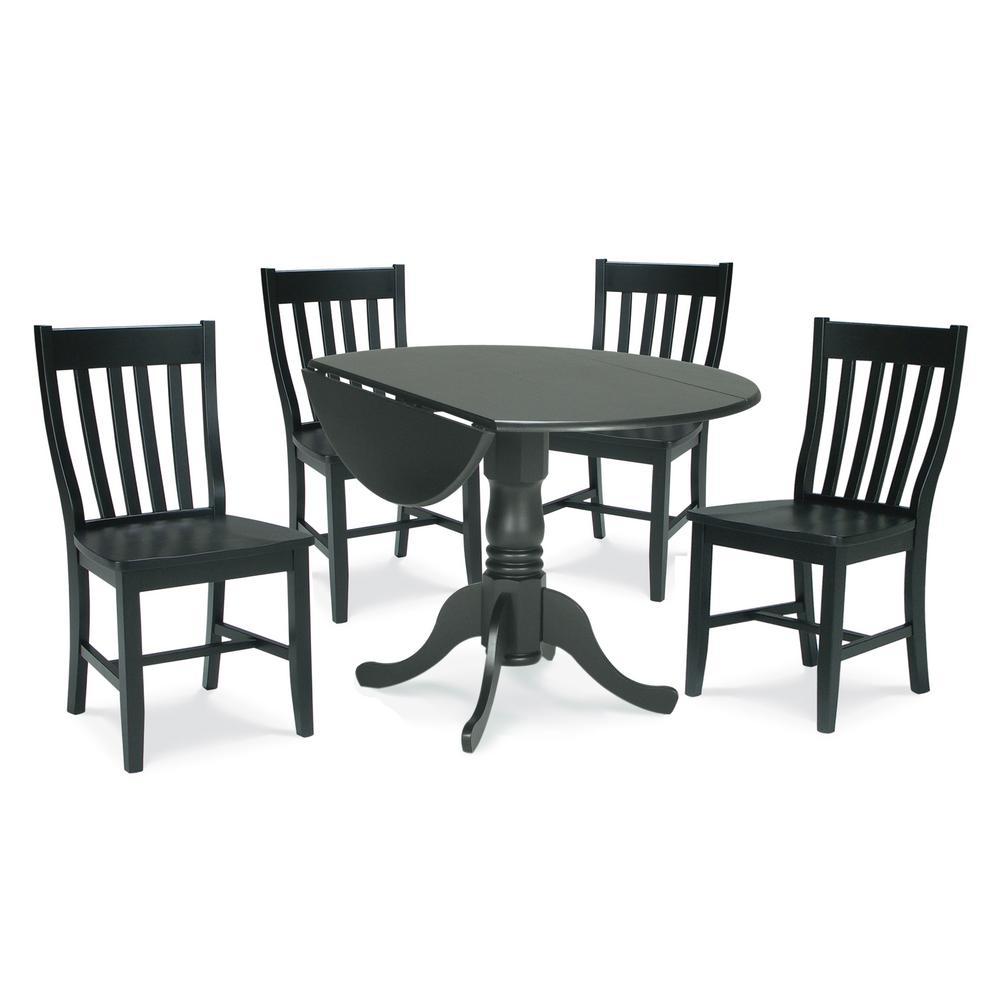 5 Piece Black Solid Wood Dropleaf Dining Set