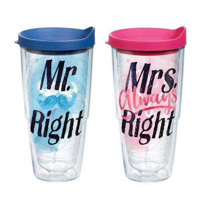 Mr Right Mrs Right Heart 24 oz. Double Walled Insulated Tumbler with Travel Lid (2-pack)