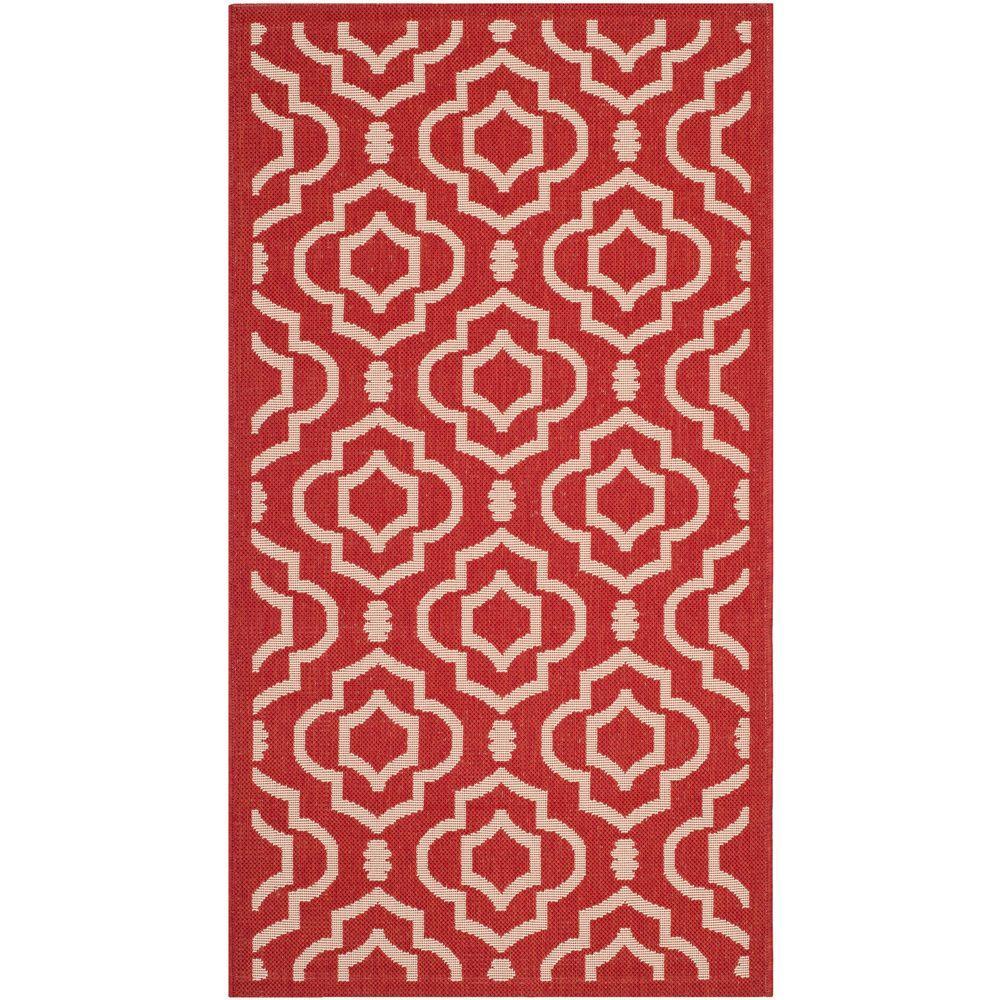 Safavieh Courtyard Red/Bone 2 ft. x 3 ft. 7 in. Indoor/Outdoor Area Rug