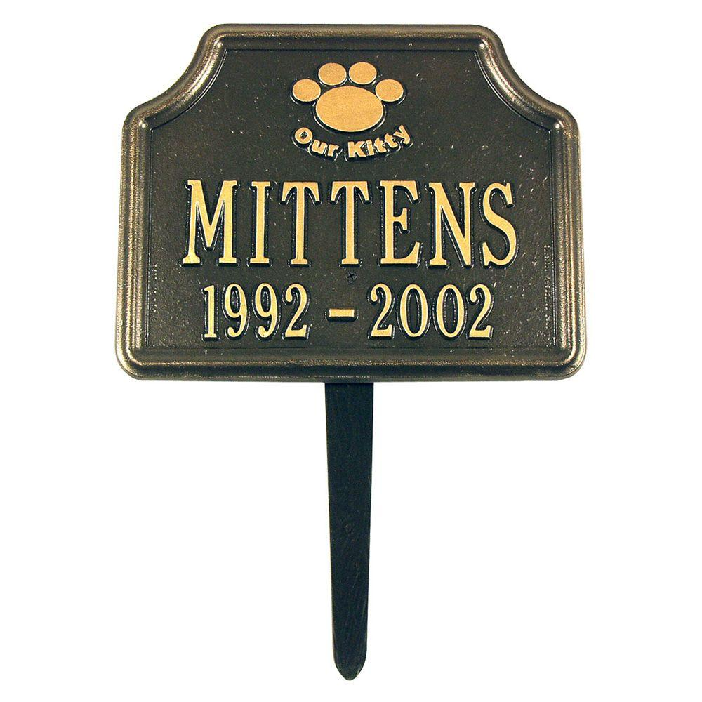 Bronze/Gold Our Kitty Cat Paw Two Line Lawn Marker