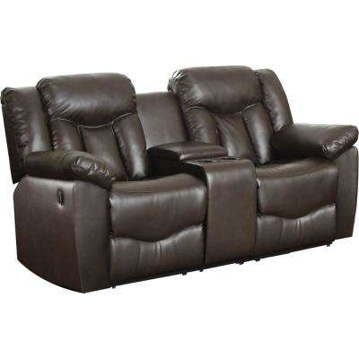 Brown Bonded Leather Motion Loveseat (2 Reclining Seats) and Console
