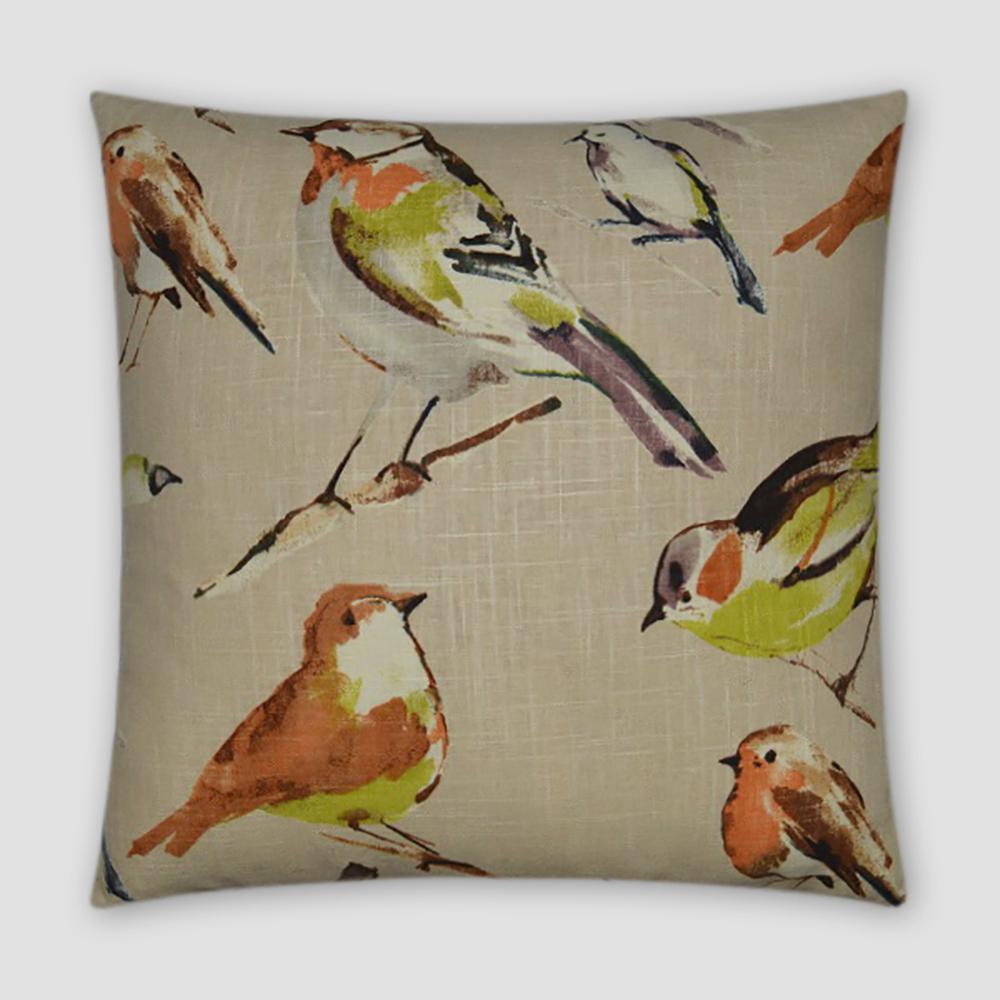 Birdwatcher Multicolored Geometric Down 20 in. x 20 in. Throw Pillow
