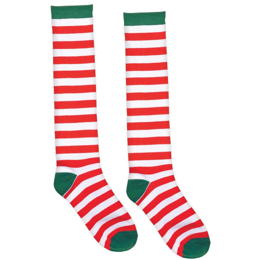 9173161da Amscan. 23.75 in. Candy Cane Striped Christmas Red and White Knee Socks (2- Count
