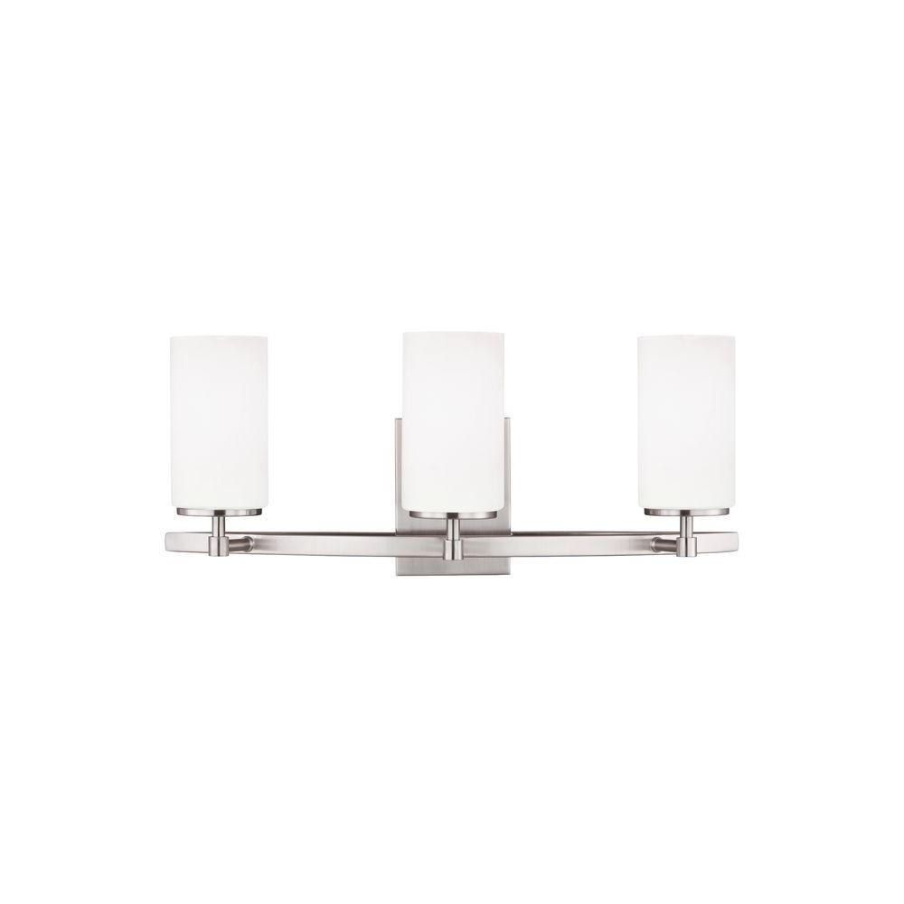 Sea Gull Lighting Alturas 3-Light Brushed Nickel Vanity Light with LED Bulb