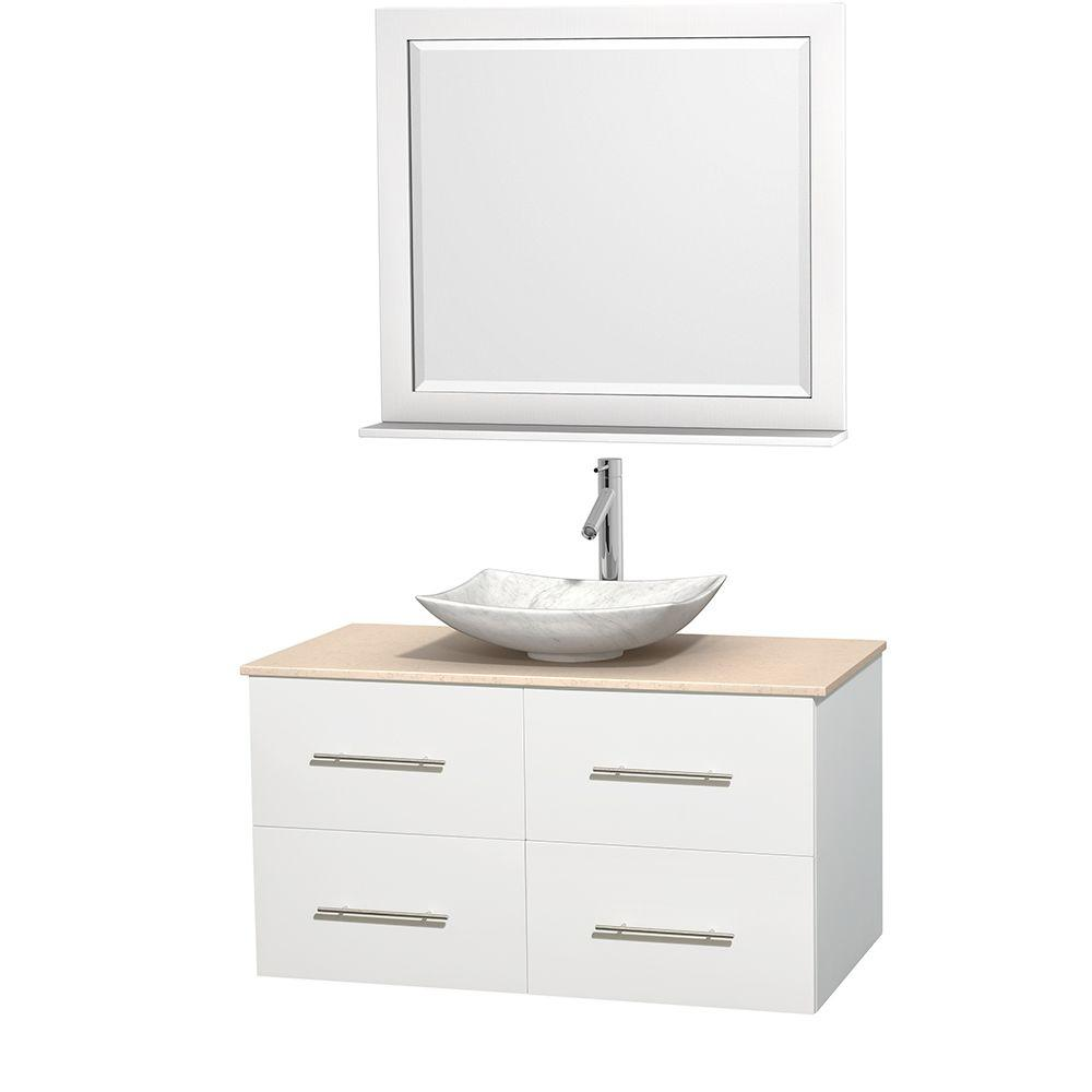 Wyndham Collection Centra 42 in. Vanity in White with Marble Vanity Top in Ivory, Carrara White Marble Sink and 36 in. Mirror