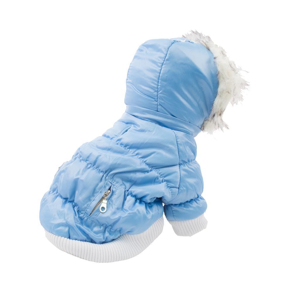 Large Metallic Blue Metallic Fashion Pet Parka Coat