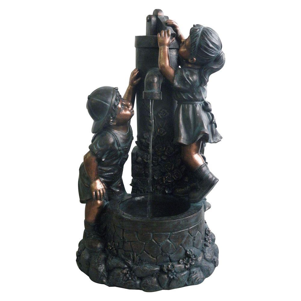 Boy And Girl Outdoor Fountain