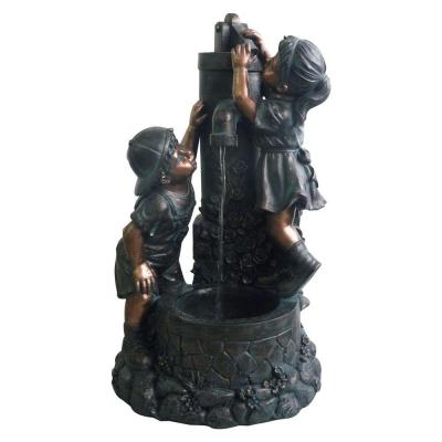 28 in. Boy and Girl Outdoor Fountain