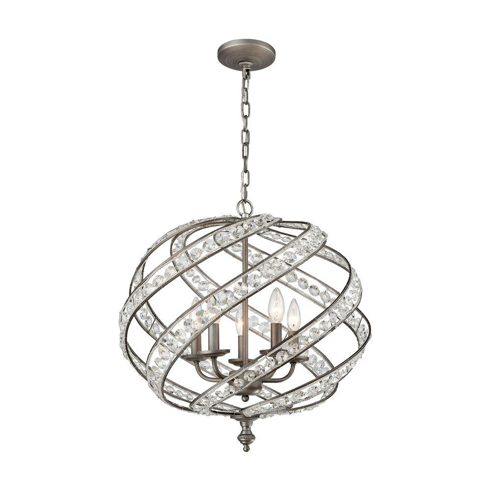 An Lighting Renaissance 5 Light Weathered Zinc Chandelier With Metal And Crystal Shade