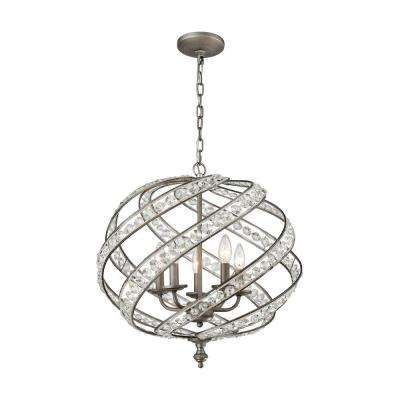 Glam cage silver chandeliers lighting the home depot renaissance 5 light weathered zinc chandelier with metal and crystal shade aloadofball Choice Image