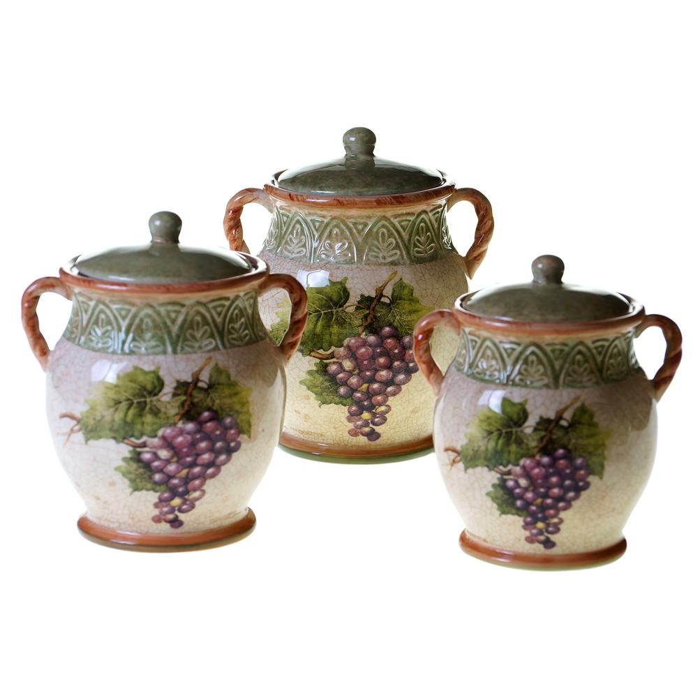 3 Piece Sanctuary Wine Canister Set