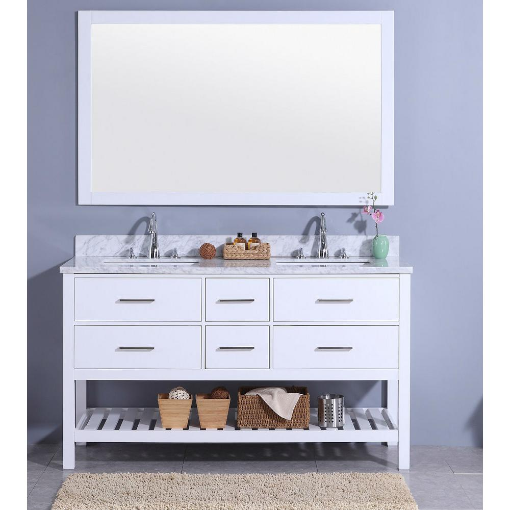 61 in. W x 22 in. D Vanity in White with