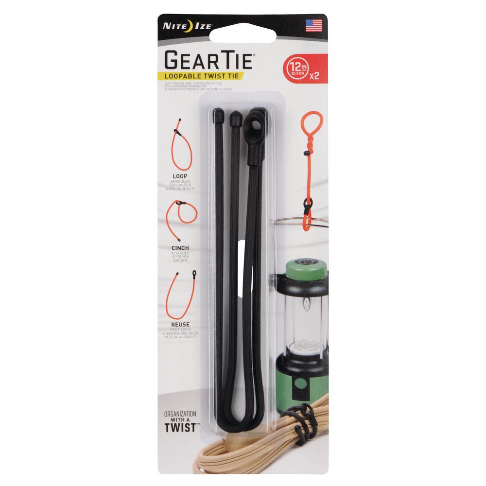 2-Pack of 12 Nite Ize Gear Tie 12 Black Twist Ties Rubber Lightweight Durable
