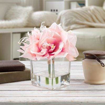 7.5 in. Lily Artificial Floral Pink Arrangement