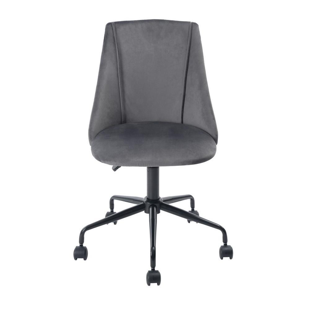 Cian Grey Velvet Swivel Office Desk Chair
