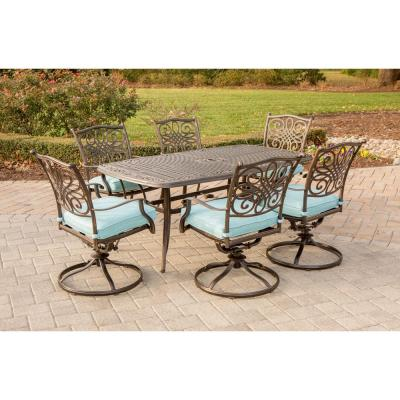 Traditions 7-Piece Aluminum Outdoor Dining Set with Rectangular Cast-Top Table and Swivel Chairs with Blue Cushions