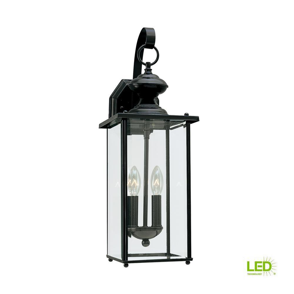 Sea Gull Lighting Jamestowne 2 Light Small Black Outdoor 20 25 In Wall Mount Lantern With Dimmable Candelabra Led Bulb