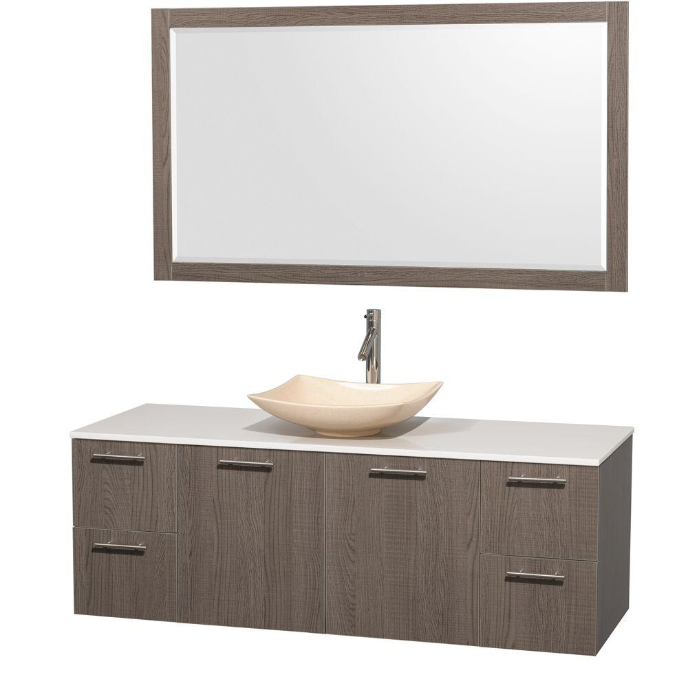Vanity Gray Oak Surface Vanity Top White Marble Sink Mirror