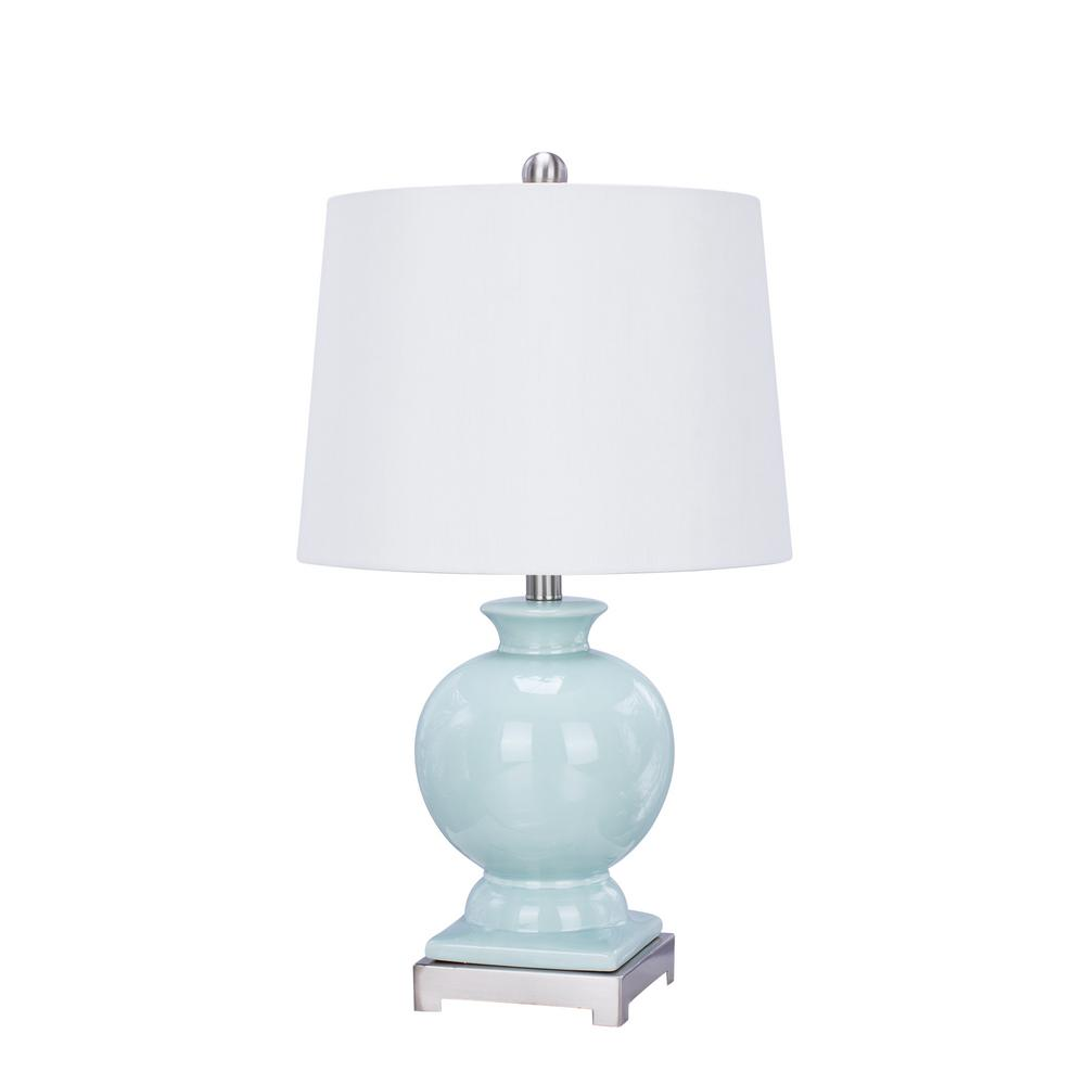 24 in. Light Green Ceramic and Brushed Steel Metal Table Lamp