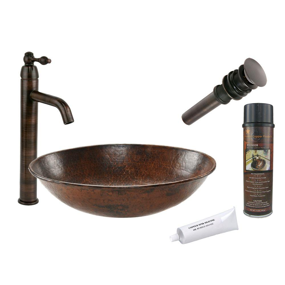 All-in-One Oval Wired Rimmed Vessel Hammered Copper Bathroom Sink in Oil