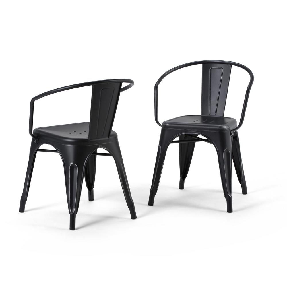 Simpli home larkin distressed black and silver metal dining arm chair set of 2
