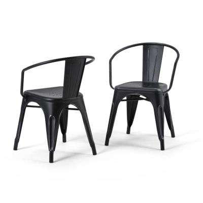 Larkin Distressed Black and Silver Metal Dining Arm Chair (Set of 2)