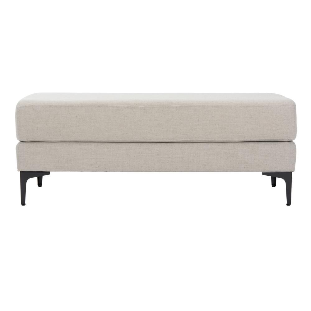Elise Light Gray Linen/Black Upholstered Bench