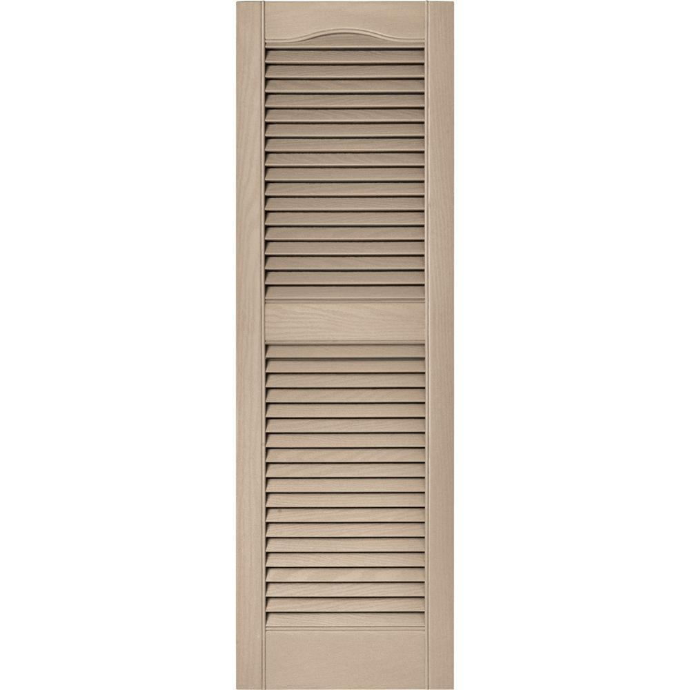 Builders Edge 15 in. x 48 in. Louvered Vinyl Exterior Shutters Pair in #023 Wicker
