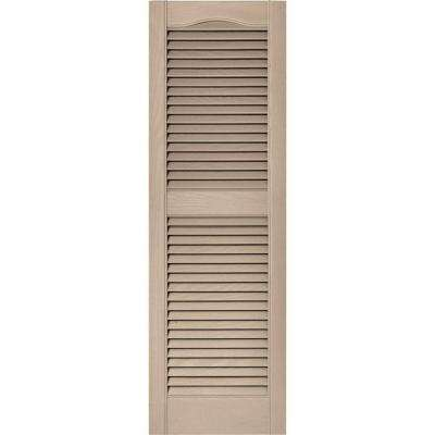 15 in. x 48 in. Louvered Vinyl Exterior Shutters Pair in #023 Wicker