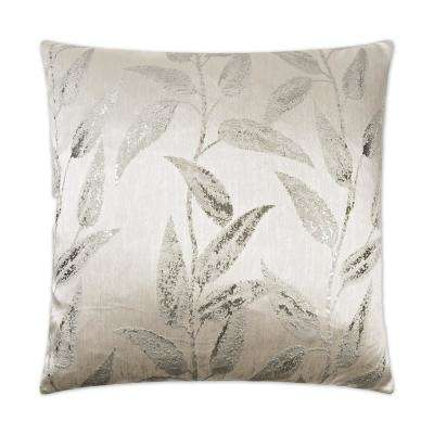 Vine Silver Feather Down 24 in. x 24 in. Standard Decorative Throw Pillow