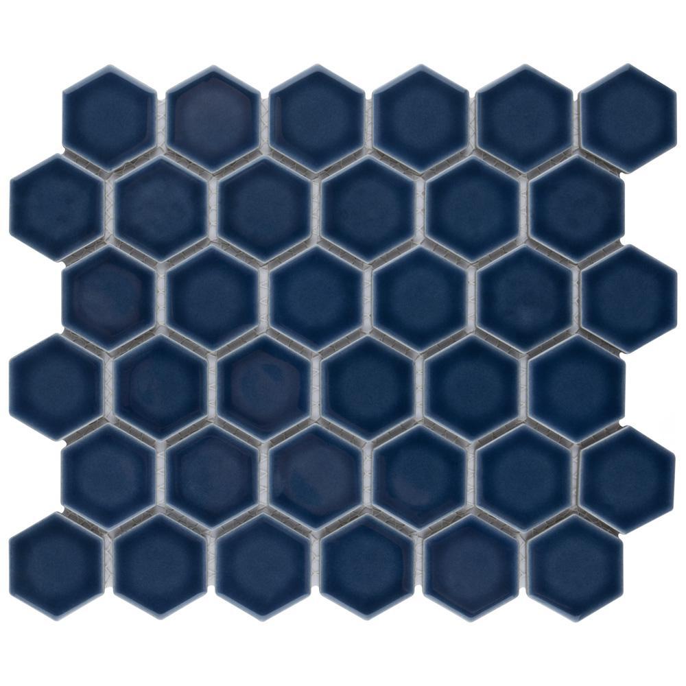 Hudson Due Hex 2 in. Denim Blue 11 in. x 12 in. Porcelain Mosaic (9.97 sq. ft. / Case)