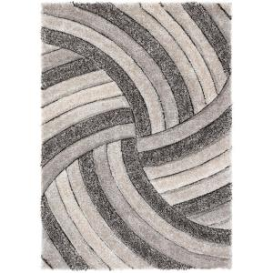 San Francisco Ucci Grey Modern Geometric Stripes 3 ft. 11 in. x 5 ft. 3 in. 3D Carved Shag Area Rug