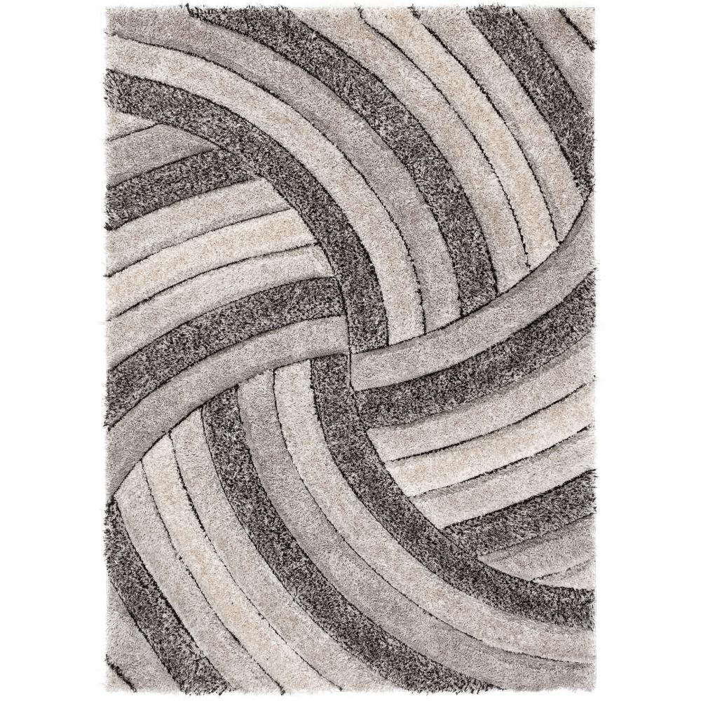 Well Woven San Francisco Ucci Grey Modern Geometric Stripes 5 Ft 3 In X 7 Carved Shag Area Rug