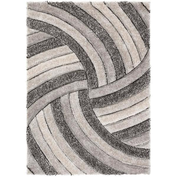 San Francisco Ucci Grey Modern Geometric Stripes 5 ft. 3 in. x 7 ft. 3 in. 3D Carved Shag Area Rug