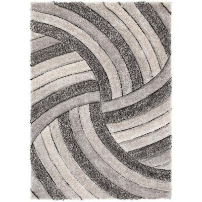 San Francisco Ucci Grey Modern Geometric Stripes 7 ft. 10 in. x 9 ft. 10 in. 3D Carved Shag Area Rug