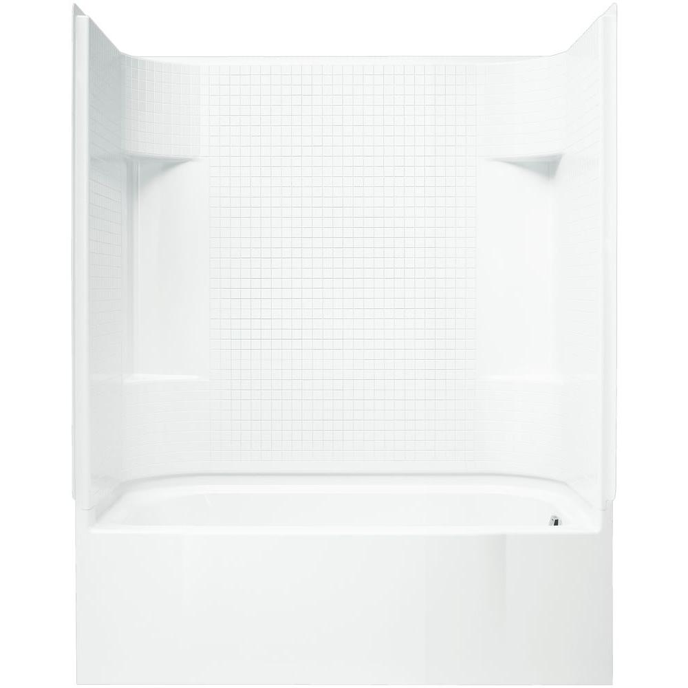 STERLING AccordTile 30 in. x 60 in. x 74 in. Bath and Shower Kit with Right-Hand Drain in White