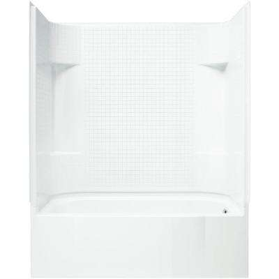 AccordTile 30 in. x 60 in. x 74 in. Bath and Shower Kit with Right-Hand Drain in White