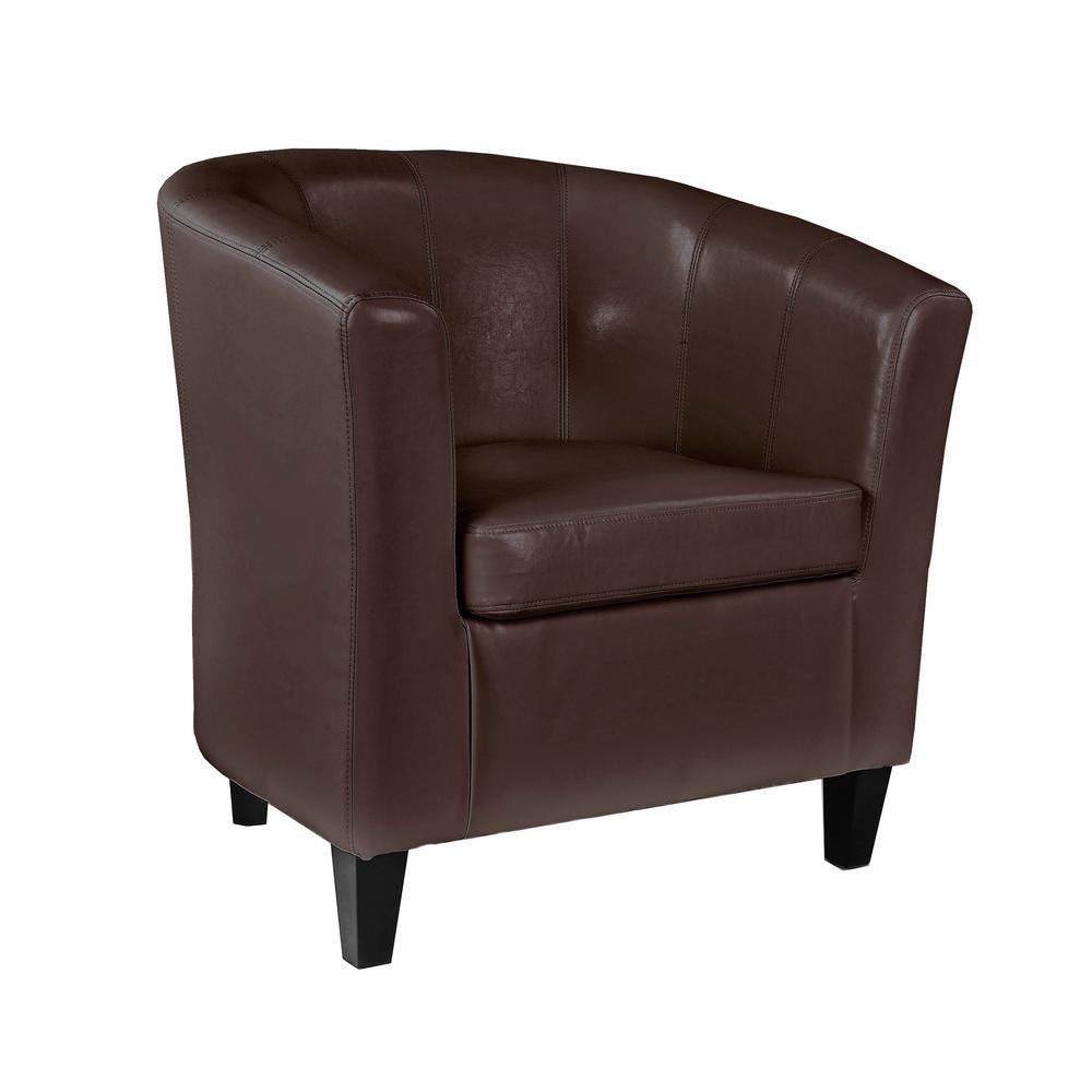Antonio Brown Bonded Leather Tub Chair