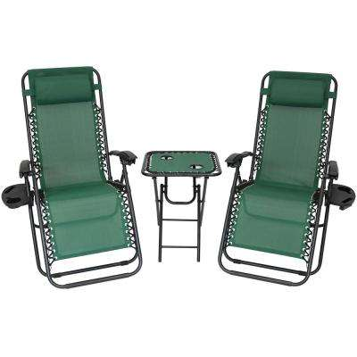 Zero Gravity Forest Green Sling Beach Chairs with Side Table (Set of 2)