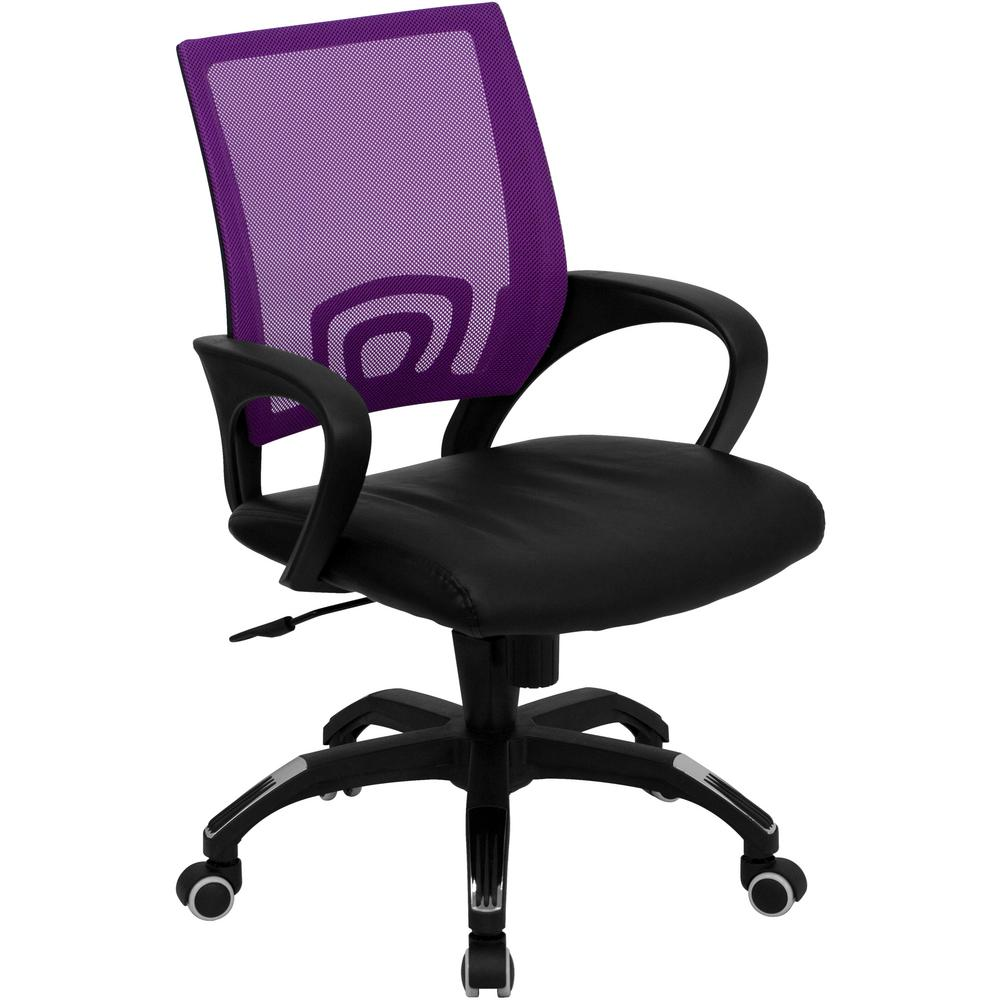 Genial Flash Furniture Mid Back Purple Mesh Swivel Task Chair With Black Leather  Padded Seat