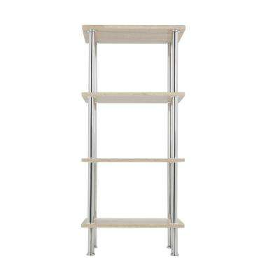 Whitewashed Oak and Chrome Small 4-Tier Shelving Unit