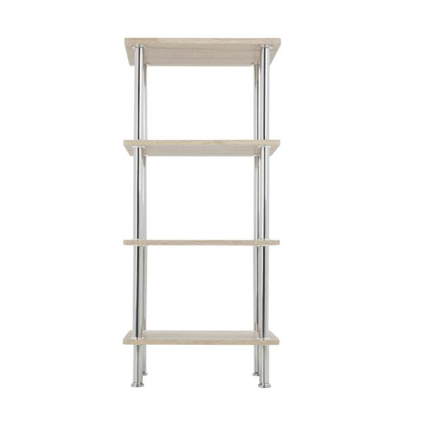 AVF Whitewashed Oak and Chrome Small 4-Tier Shelving Unit