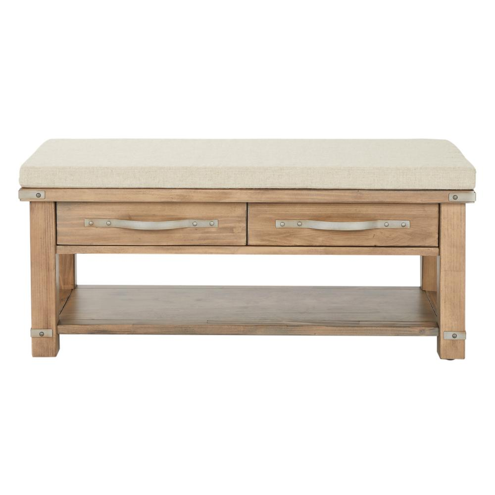 Matera Bench Beige with 2-Drawers in Linen Fabric with Natural Soap