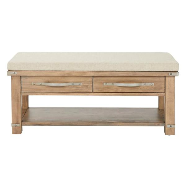 OSP Home Furnishings Matera Bench Beige with 2-Drawers in Linen Fabric
