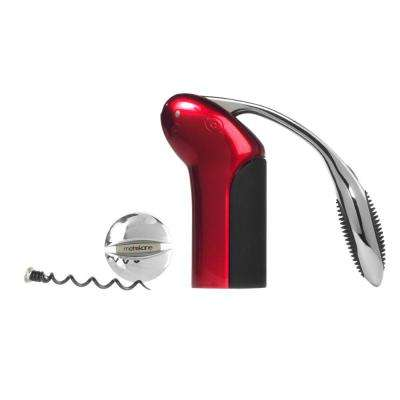 Vertical Cork Screw with Aerator Set in Red