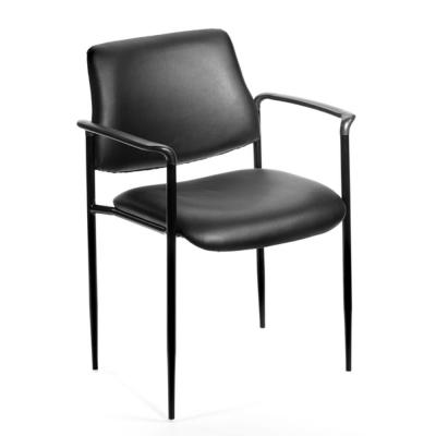 Black Vinyl Cushions Black Steel Frame Molded Arms Stackable Guest Chair