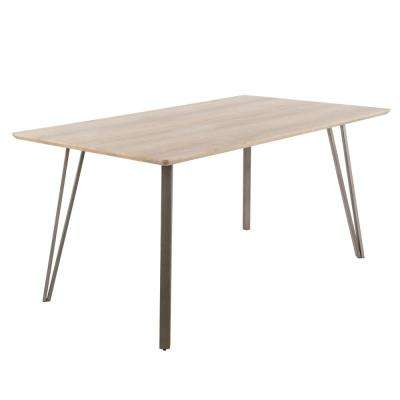 Sedona Light Brown Wood and Antique Metal Dining Table