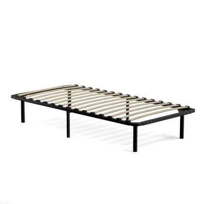 Extra Long Twin Black Metal Bed Frame with Wood Slats