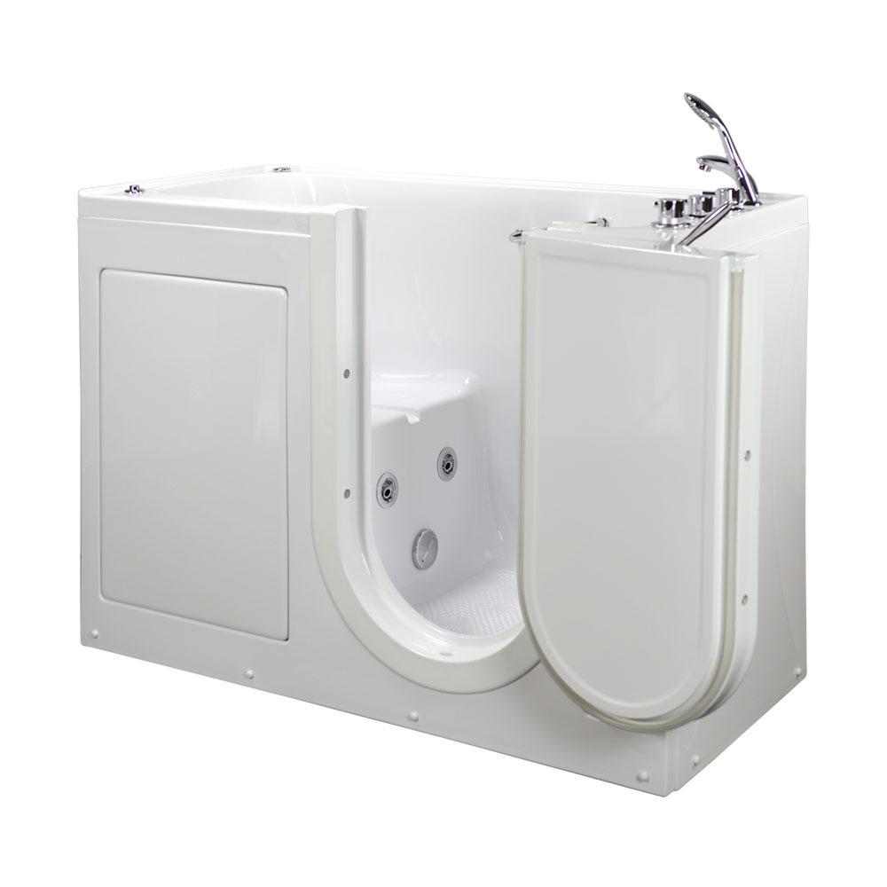 5 ft. Lounger Acrylic Walk-In Whirlpool Bathtub in White